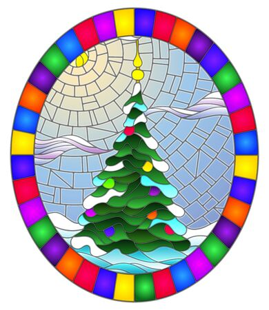 Illustration in stained glass style with a Christmas tree on a background of snow and sky, oval illustration in bright frame