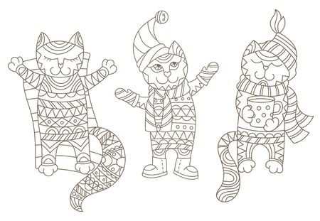 Illustration with funny contour cartoon cats dressed in different seasons, autumn, winter and summer, isolated on white background