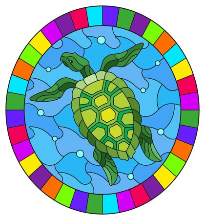 Illustration in stained glass style with green  sea turtle on a background of sea waves and air bubbles, oval image in a bright frame Ilustrace
