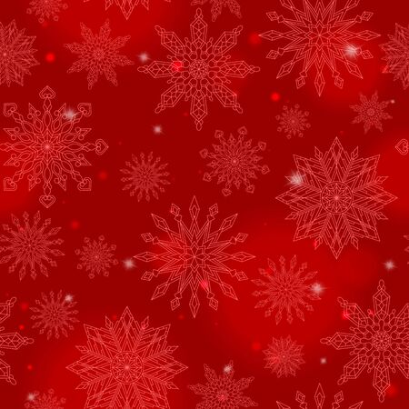 Seamless pattern on the theme of winter and winter holidays, the contour of the snowflake and flare, pink snowflakes on a red background