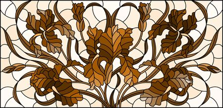 Illustration in stained glass style with  bouquet of irises, flowers, buds and leaves on light background, tone brown