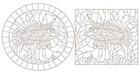 Set of contour illustrations of stained glass Windows with Mandarin fish, dark outlines on a white background Ilustrace