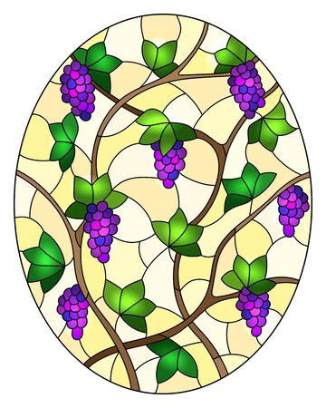 The illustration in stained glass style painting with a bunches of red grapes and leaves on blue background, oval image