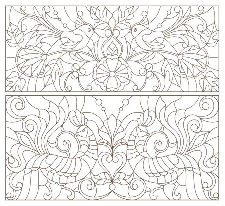 Set of contour illustrations of stained glass with birds and flowers, dark outline on white background