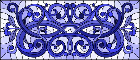 Illustration in stained glass style with abstract flowers, swirls and leaves  on a light background,horizontal orientation,tone blue Foto de archivo - 133429127