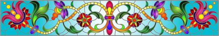 Illustration in stained glass style with abstract  swirls,flowers and leaves  on a blue background,horizontal orientation Foto de archivo - 133429128