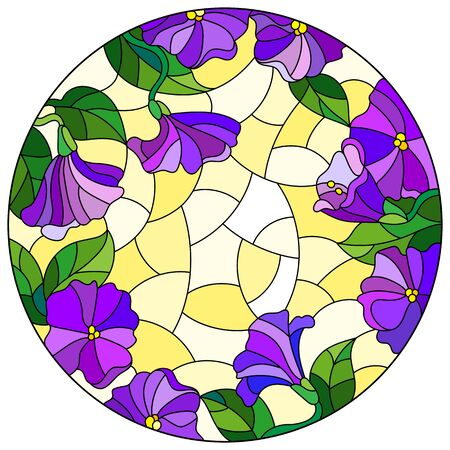 Illustration in stained glass style with floral arrangement of flowers, purple flowers and leaves on a yellow background, round image Foto de archivo - 133429167