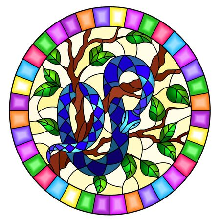 Illustration in the style of stained glass with blue snake on the tree on a yellow background, oval image in bright frame