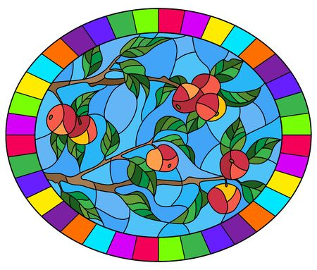 Illustration in the style of a stained glass window with the branches of Apple trees , the fruit branches and leaves against the sky,oval image in bright frame  Ilustrace