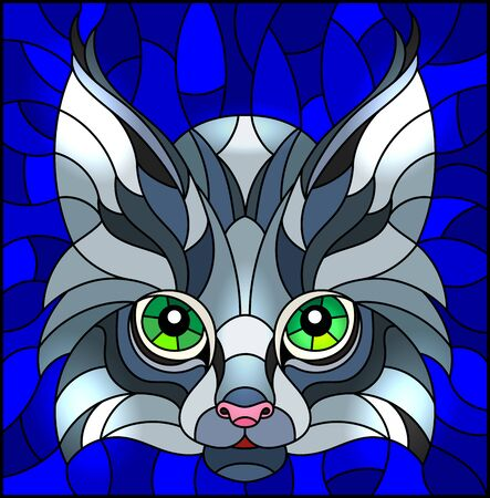 The illustration in stained glass style painting with a lynxs head on a blue background