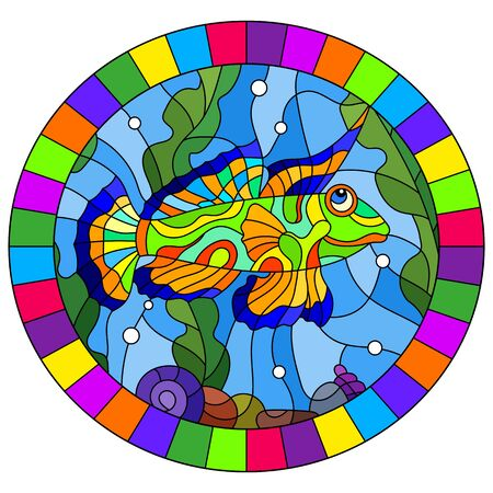 Illustration in stained glass style  mandarin fish on the background of water and algae, oval image in bright frame