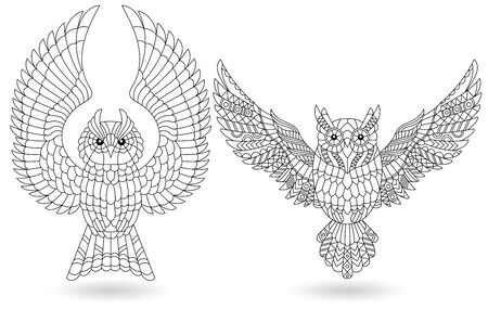 Set of stained glass elements with owls, contour birds isolated on white background Illusztráció