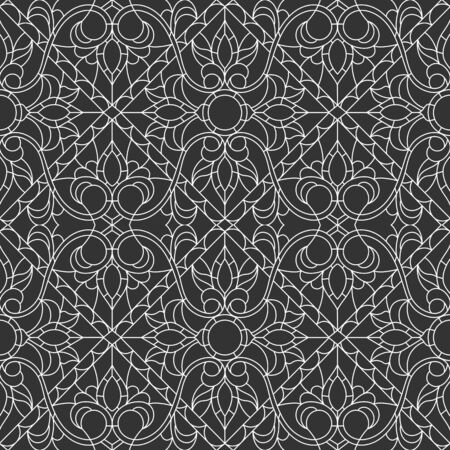 Seamless pattern in the style of a stained glass window with abstract contour floral ornament, light outline on a dark background Ilustrace