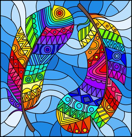 Illustration in stained glass style with bright patterned rainbow feathers on a blue sky background Ilustrace