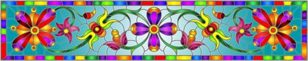 Illustration in stained glass style with abstract  swirls,flowers and leaves  on a blue background in bright frame,horizontal orientation