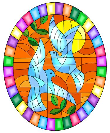 Illustration in stained glass style with a pair of white doves on the background of orange sky , oval picture in a bright frame
