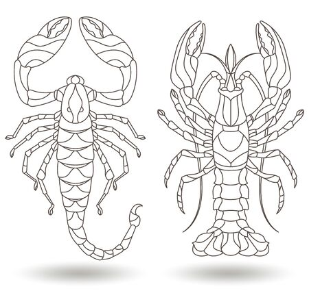 Set of contour illustrations of stained glass Windows with Scorpion and crayfish fish, dark outlines on a white background