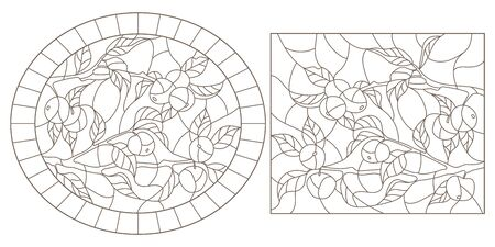 Set of contour illustrations of stained glass Windows with tree branches, Apple tree branch, dark contours on white background,rectangular and oval images Ilustrace