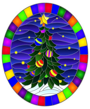 Illustration in stained glass style with a Christmas tree on a background of snow and starry sky, oval illustration in bright frame