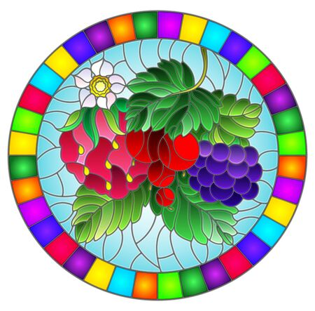 Illustration in stained glass style with ripe berries and leaves on a blue background, oval image in bright frame