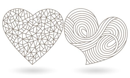 Set of contour illustrations of stained glass with hearts, dark outlines on white background