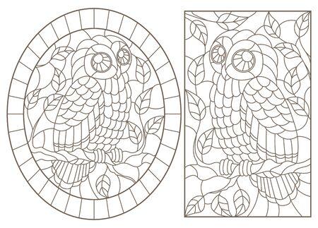 Set of contour illustrations with owls, dark contours on white background Illusztráció