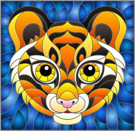The illustration in stained glass style painting with a tigers head on a blue background Illusztráció