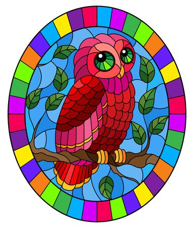 Illustration in stained glass style with fabulous red owl sitting on a tree branch against the sky, oval image in bright frame