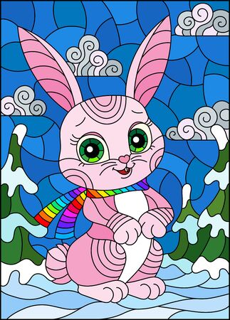 Illustration in stained glass style with a cute pink cartoon hare in a scarf on the background of a winter landscape