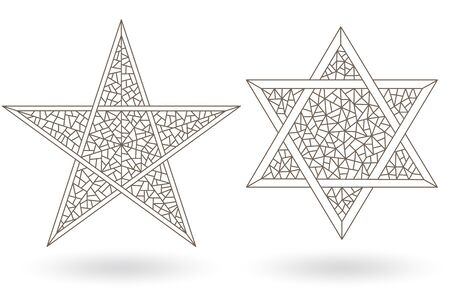 Set of contour illustrations of stained glass Windows with stars, six-pointed and five-pointed stars, dark outlines on a white background Illusztráció