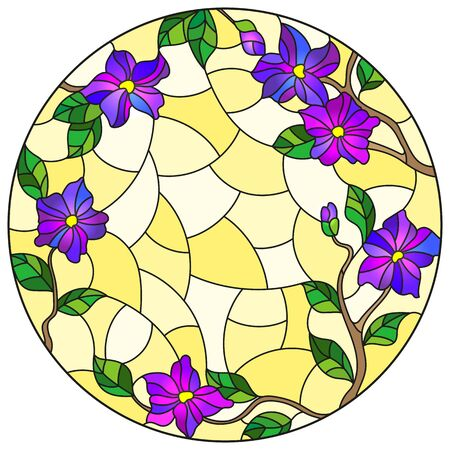 Illustration in stained glass style with floral arrangement of flowers, purple flowers and leaves on a yellow background, round image Banque d'images - 133856117