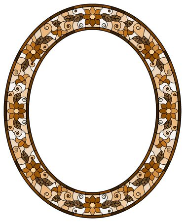 Illustration in stained glass style flower frame, brown flowers and leaves on a white background