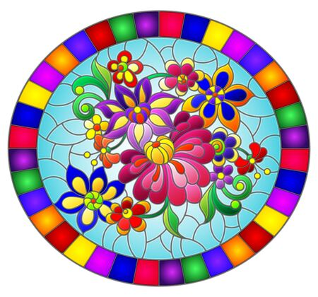 Illustration in stained glass style with bright abstract flowers and leaves on blue background, oval image in bright frame Illusztráció