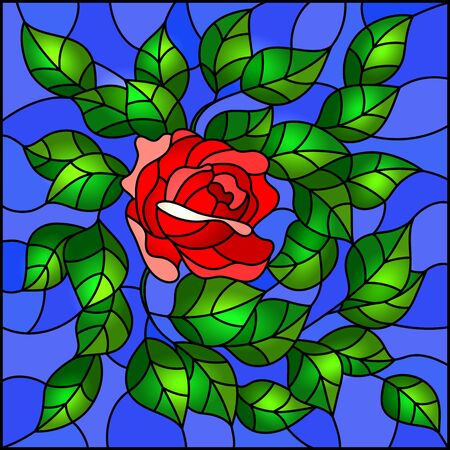 Illustration in stained glass style flower of red rose on a sky background, square image Иллюстрация