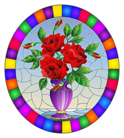 Illustration in stained glass style with floral still life,  bouquet of red  roses in a purple vase on a blue  background,oval image in bright frame Illusztráció