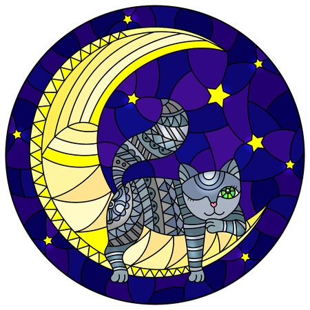 Illustration in stained glass style with fabulous grey kitten  on the moon on a starry sky background, round image Illusztráció