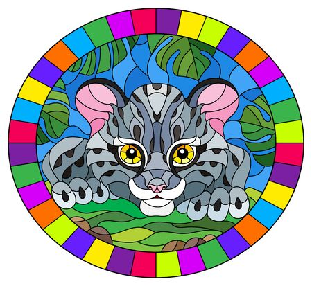 Illustration in stained glass style with baby leopard on the hunt, animal on the background of tropical leaves, oval image in bright frame
