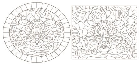 Set contour illustrations of stained glass with a Cheetah on the background of tropical plants, round and square image, dark contours on white background Ilustracja