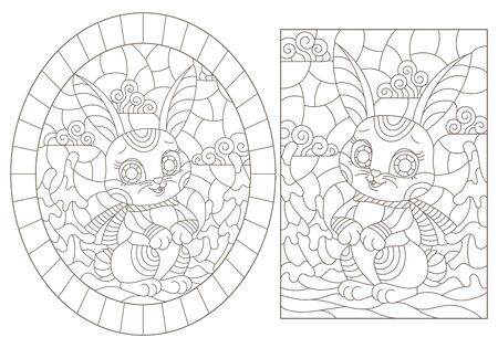 Set of contour illustrations of stained glass Windows with cute cartoon rabbits on the background of winter landscapes, dark outlines on a white background