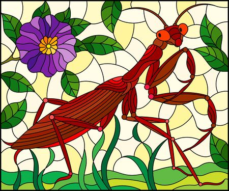 Illustration in stained glass style with red mantis and purple flower on grass and yellow background