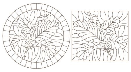 Set of contour illustrations of stained glass Windows with oak branches, acorns and leaves, dark contours on a white background
