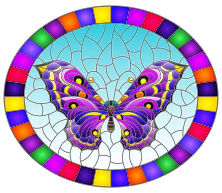 Illustration in stained glass style with bright purple butterfly on blue background, oval picture in bright frame Illusztráció