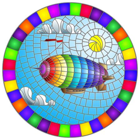 Illustration in stained glass style with balloon on sky, sun and clouds background, oval picture in bright frame Illusztráció