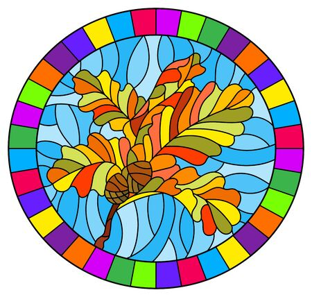 The illustration in stained glass style painting with a branch of autumn oak leaves and acorns on a blue background, oval image in bright frame Stock Illustratie