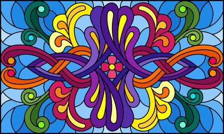 Illustration in stained glass style with abstract  swirls,flowers and leaves  on a blue background,horizontal orientation Banque d'images - 133856067