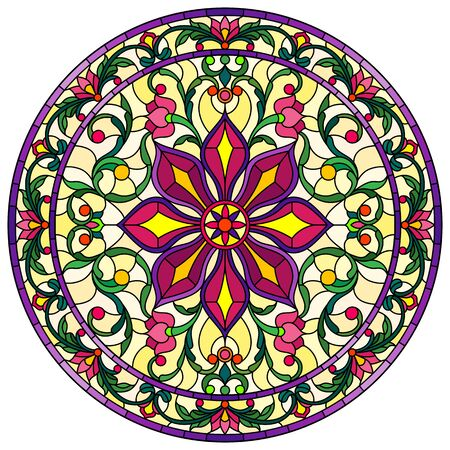 Illustration in stained glass style, round mirror image with floral ornaments and swirls,bright flowers on yellow background