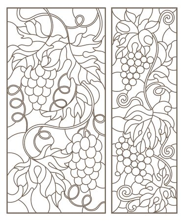Set contour illustrations of stained glass with grapes and grape leaves , black contour on white background