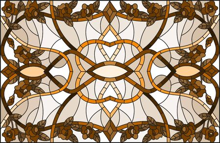 Illustration in stained glass style with abstract  flowers of roses ,swirls and leaves  on a light background,horizontal orientation, sepia Illusztráció