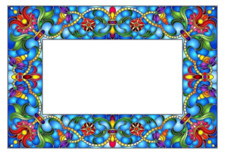 Illustration in stained glass style flower frame, bright flowers and  leaves in blue frame on a white background Ilustracja