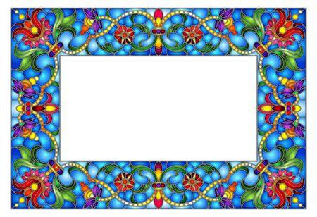 Ilustración en marco de flores de estilo vitral, flores brillantes y hojas en marco azul sobre un fondo blanco Ilustración de vector